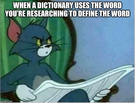 How redundant | WHEN A DICTIONARY USES THE WORD YOU'RE RESEARCHING TO DEFINE THE WORD | image tagged in interrupting tom's read,funny,annoying | made w/ Imgflip meme maker