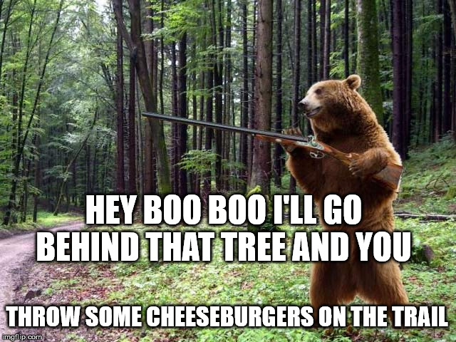 Django Bear | HEY BOO BOO I'LL GO BEHIND THAT TREE AND YOU THROW SOME CHEESEBURGERS ON THE TRAIL | image tagged in yogi bear,hunters,cartoons,second amendment,anime meme,Tierzoo | made w/ Imgflip meme maker