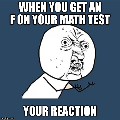 Y U No Meme | WHEN YOU GET AN F ON YOUR MATH TEST YOUR REACTION | image tagged in memes,y u no | made w/ Imgflip meme maker
