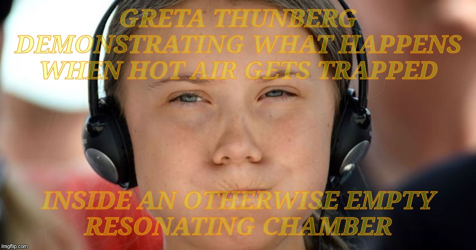 Greta Thunberg wants you to listen to the scientists because she sure has nothing to say that will do the slightest anything |  GRETA THUNBERG DEMONSTRATING WHAT HAPPENS WHEN HOT AIR GETS TRAPPED; INSIDE AN OTHERWISE EMPTY     RESONATING CHAMBER | image tagged in memes,greta thunberg,global warming,climate change,hot air balloon full of flatulence,global farting stinks so zip it yourself | made w/ Imgflip meme maker