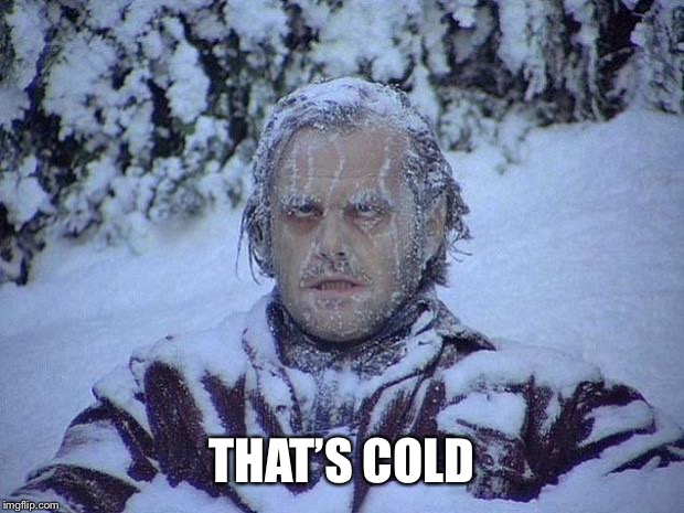 Jack Nicholson The Shining Snow Meme | THAT'S COLD | image tagged in memes,jack nicholson the shining snow | made w/ Imgflip meme maker