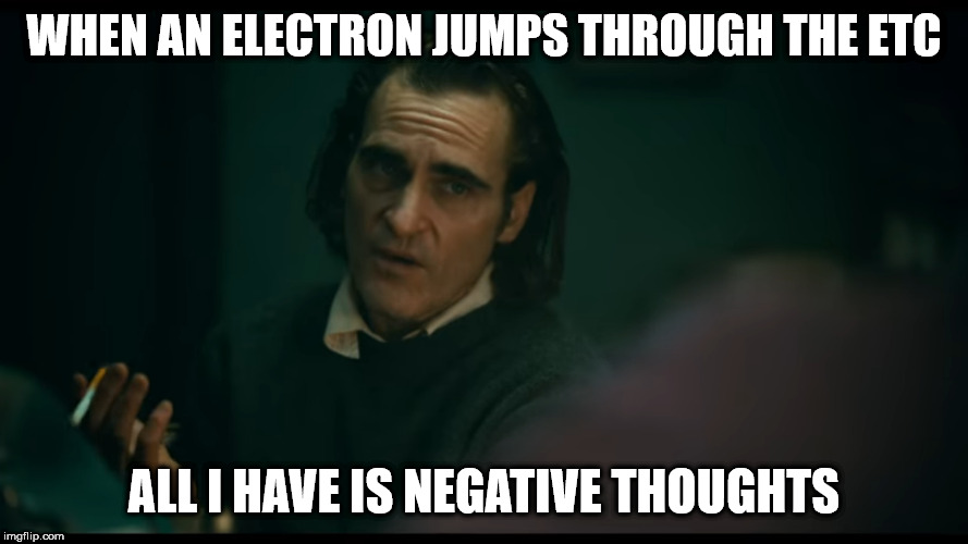 All i have are negative thoughts Joker 2019 | WHEN AN ELECTRON JUMPS THROUGH THE ETC ALL I HAVE IS NEGATIVE THOUGHTS | image tagged in all i have are negative thoughts joker 2019,AdviceAnimals | made w/ Imgflip meme maker