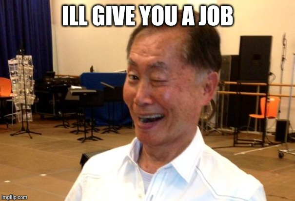 Winking George Takei | ILL GIVE YOU A JOB | image tagged in winking george takei | made w/ Imgflip meme maker