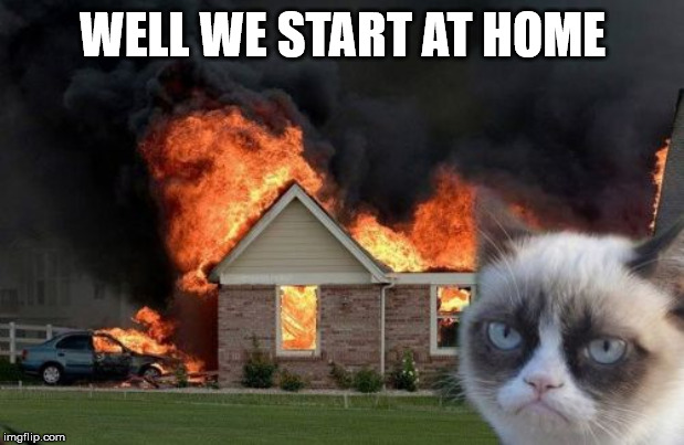 Burn Kitty Meme | WELL WE START AT HOME | image tagged in memes,burn kitty,grumpy cat | made w/ Imgflip meme maker