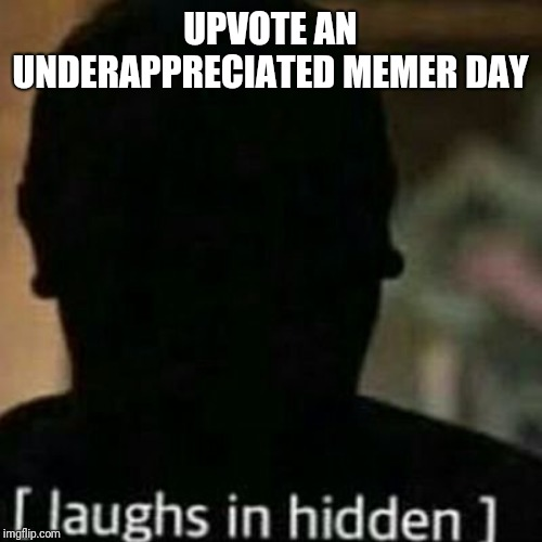 Link a meme that you think deserves more attention.  Upvote the user and give them a boost! | UPVOTE AN UNDERAPPRECIATED MEMER DAY | image tagged in laughs in hidden | made w/ Imgflip meme maker