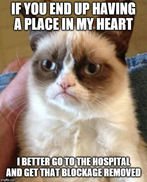 Grumpy Cat | IF YOU END UP HAVING A PLACE IN MY HEART I BETTER GO TO THE HOSPITAL AND GET THAT BLOCKAGE REMOVED | image tagged in memes,grumpy cat,surgery,hospital,my heart | made w/ Imgflip meme maker