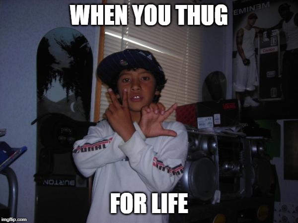 Thug Life | WHEN YOU THUG FOR LIFE | image tagged in thug life,thuglife,thug,stewie griffin,stewie,gangsta | made w/ Imgflip meme maker