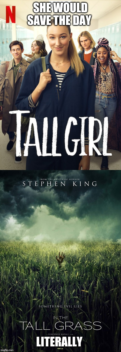 If tall girl was in thr cast of the that Stephan King movie, she would be like... There you are/I can see the barn. We'll be ok! | SHE WOULD SAVE THE DAY LITERALLY | image tagged in tall,memes,funny | made w/ Imgflip meme maker