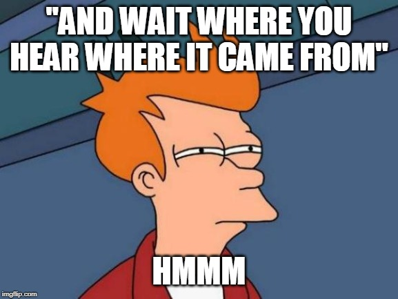 "Futurama Fry Meme | ""AND WAIT WHERE YOU HEAR WHERE IT CAME FROM"" HMMM 