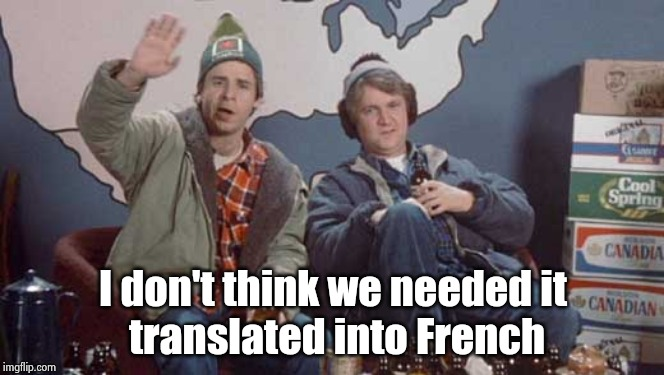 Bob and Doug Mckenzie hello and good day | I don't think we needed it  translated into French | image tagged in bob and doug mckenzie hello and good day | made w/ Imgflip meme maker