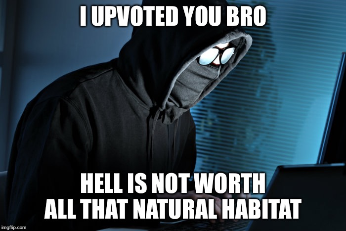 Paranoid | I UPVOTED YOU BRO HELL IS NOT WORTH ALL THAT NATURAL HABITAT | image tagged in paranoid | made w/ Imgflip meme maker