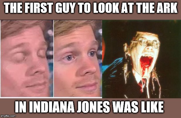 I said don't look | THE FIRST GUY TO LOOK AT THE ARK IN INDIANA JONES WAS LIKE | image tagged in the first guy | made w/ Imgflip meme maker