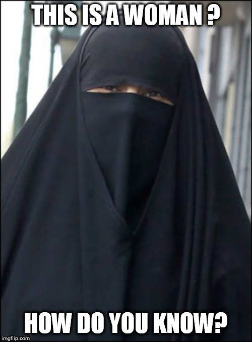 Burka Wearing Muslim Women | THIS IS A WOMAN ? HOW DO YOU KNOW? | image tagged in burka wearing muslim women | made w/ Imgflip meme maker