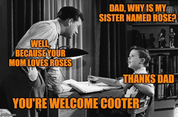 And that's the rest of the story | DAD, WHY IS MY SISTER NAMED ROSE? WELL, BECAUSE YOUR MOM LOVES ROSES THANKS DAD YOU'RE WELCOME COOTER | image tagged in father son,dad jokes,family | made w/ Imgflip meme maker