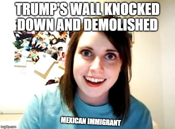 Overly Attached Girlfriend |  TRUMP'S WALL KNOCKED DOWN AND DEMOLISHED; MEXICAN IMMIGRANT | image tagged in memes,overly attached girlfriend | made w/ Imgflip meme maker