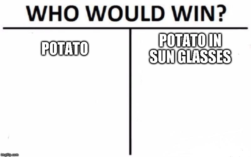 Who Would Win? Meme | POTATO POTATO IN SUN GLASSES | image tagged in memes,who would win | made w/ Imgflip meme maker