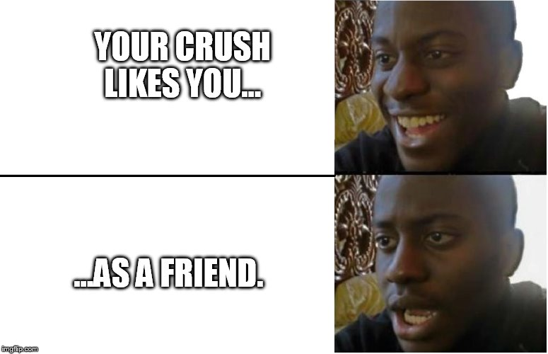 your crush likes you as a friend | YOUR CRUSH LIKES YOU... ...AS A FRIEND. | image tagged in disappointed black guy,crush,friendzone,disappointment | made w/ Imgflip meme maker