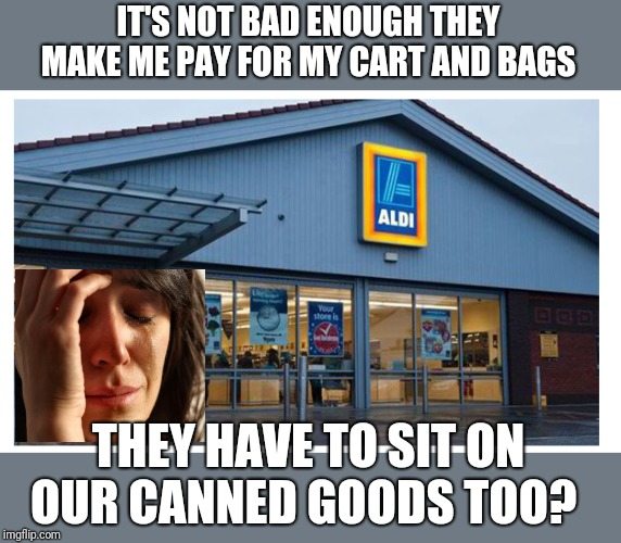 Aldi | IT'S NOT BAD ENOUGH THEY MAKE ME PAY FOR MY CART AND BAGS THEY HAVE TO SIT ON OUR CANNED GOODS TOO? | image tagged in aldi | made w/ Imgflip meme maker
