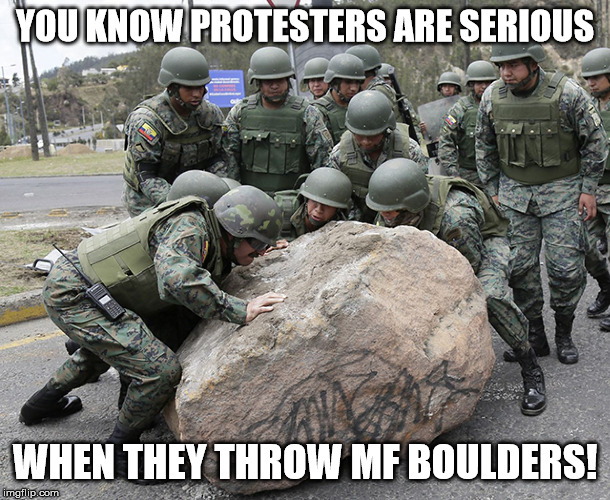 YOU KNOW PROTESTERS ARE SERIOUS WHEN THEY THROW MF BOULDERS! | image tagged in protesters | made w/ Imgflip meme maker