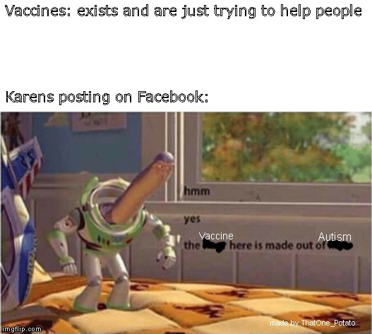hmm yes the floor here is made out of floor | Vaccines: exists and are just trying to help people Karens posting on Facebook: Vaccine Autism made by ThatOne_Potato | image tagged in hmm yes the floor here is made out of floor | made w/ Imgflip meme maker