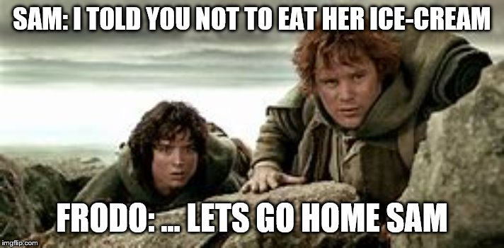 Mordor |  SAM: I TOLD YOU NOT TO EAT HER ICE-CREAM; FRODO: ... LETS GO HOME SAM | image tagged in mordor | made w/ Imgflip meme maker