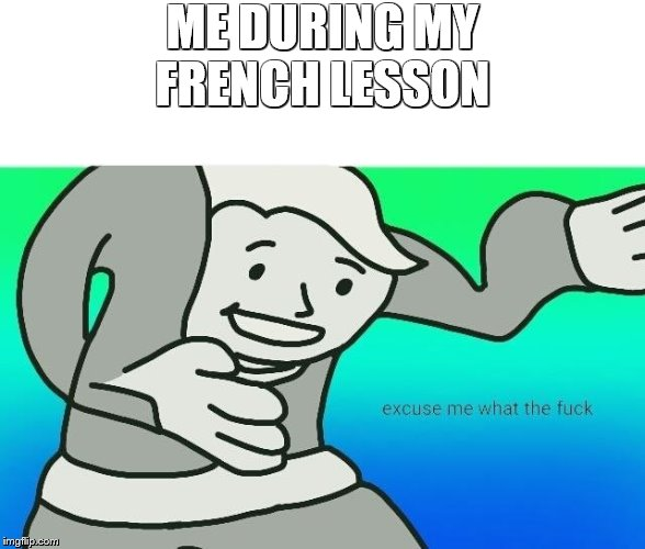 ME DURING MY FRENCH LESSON | image tagged in excuse me what the fuck | made w/ Imgflip meme maker