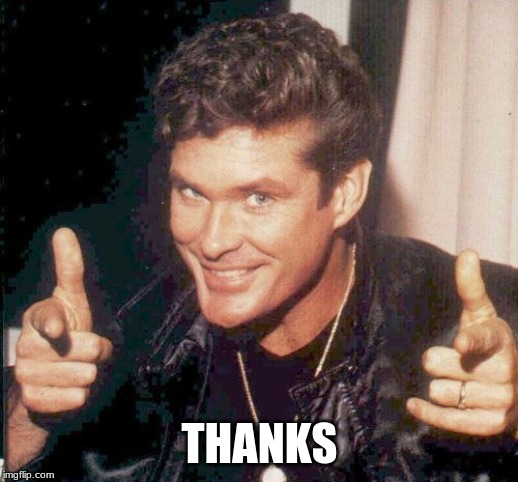 Hasselhoff finger guns | THANKS | image tagged in hasselhoff finger guns | made w/ Imgflip meme maker