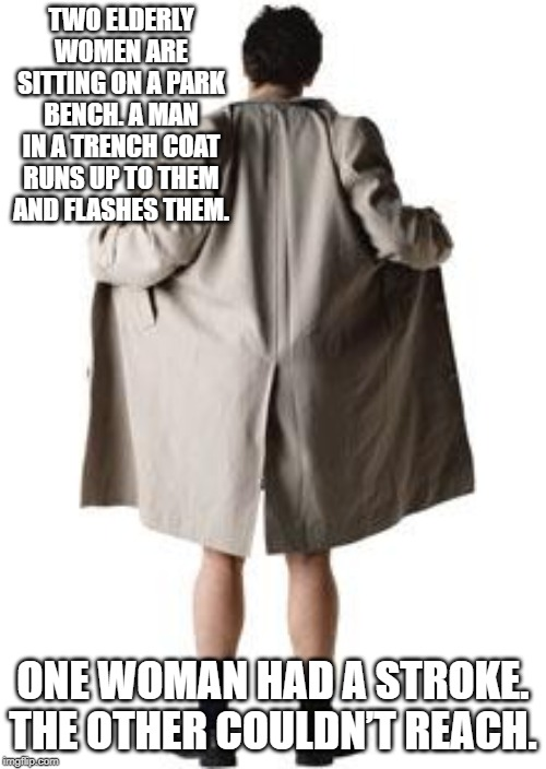 Reach Out and Touch Someone | TWO ELDERLY WOMEN ARE SITTING ON A PARK BENCH. A MAN IN A TRENCH COAT RUNS UP TO THEM AND FLASHES THEM. ONE WOMAN HAD A STROKE. THE OTHER CO | image tagged in flasher | made w/ Imgflip meme maker