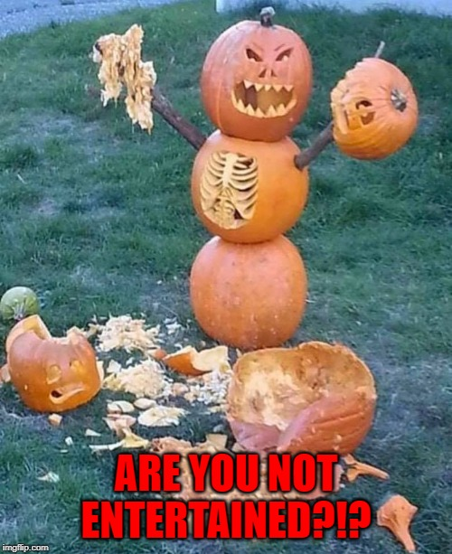The Season of the Witch is coming! | ARE YOU NOT ENTERTAINED?!? | image tagged in pumpkins,memes,are you not entertained,funny,halloween,gladiator | made w/ Imgflip meme maker