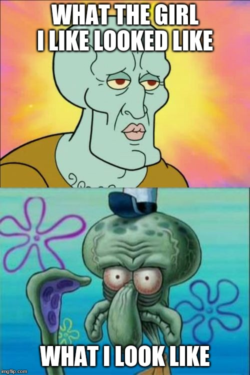 Squidward Meme | WHAT THE GIRL I LIKE LOOKED LIKE WHAT I LOOK LIKE | image tagged in memes,squidward | made w/ Imgflip meme maker