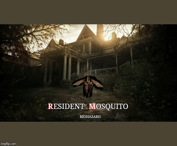 Resident mosquito | ESIDENT      OSQUITO R                   M BIOHAZARD | image tagged in resident evil | made w/ Imgflip meme maker
