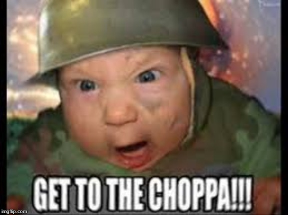 Get in the choppa!! | image tagged in funny,arnold schwarzenegger | made w/ Imgflip meme maker