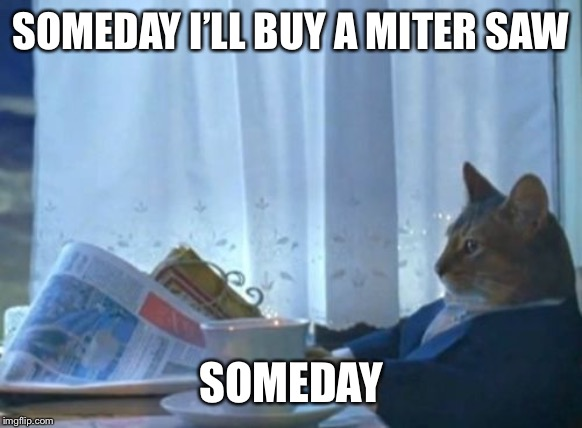 I Should Buy A Boat Cat | SOMEDAY I'LL BUY A MITER SAW SOMEDAY | image tagged in memes,i should buy a boat cat | made w/ Imgflip meme maker
