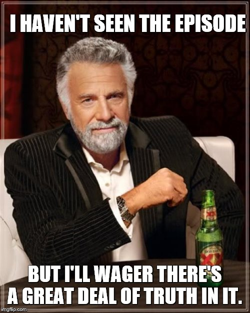 The Most Interesting Man In The World Meme | I HAVEN'T SEEN THE EPISODE BUT I'LL WAGER THERE'S A GREAT DEAL OF TRUTH IN IT. | image tagged in memes,the most interesting man in the world | made w/ Imgflip meme maker