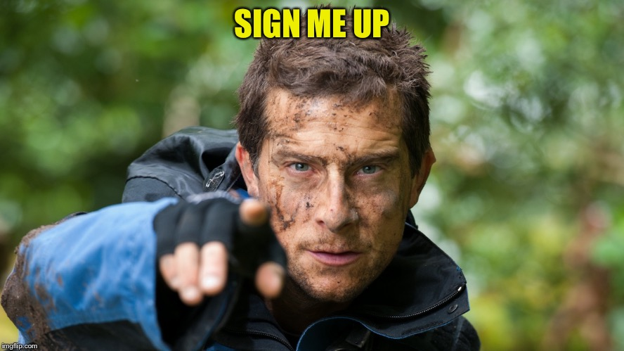 Bear Grylls | SIGN ME UP | image tagged in bear grylls | made w/ Imgflip meme maker