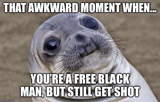 Awkward Moment Sealion | THAT AWKWARD MOMENT WHEN... YOU'RE A FREE BLACK MAN, BUT STILL GET SHOT | image tagged in memes,awkward moment sealion | made w/ Imgflip meme maker