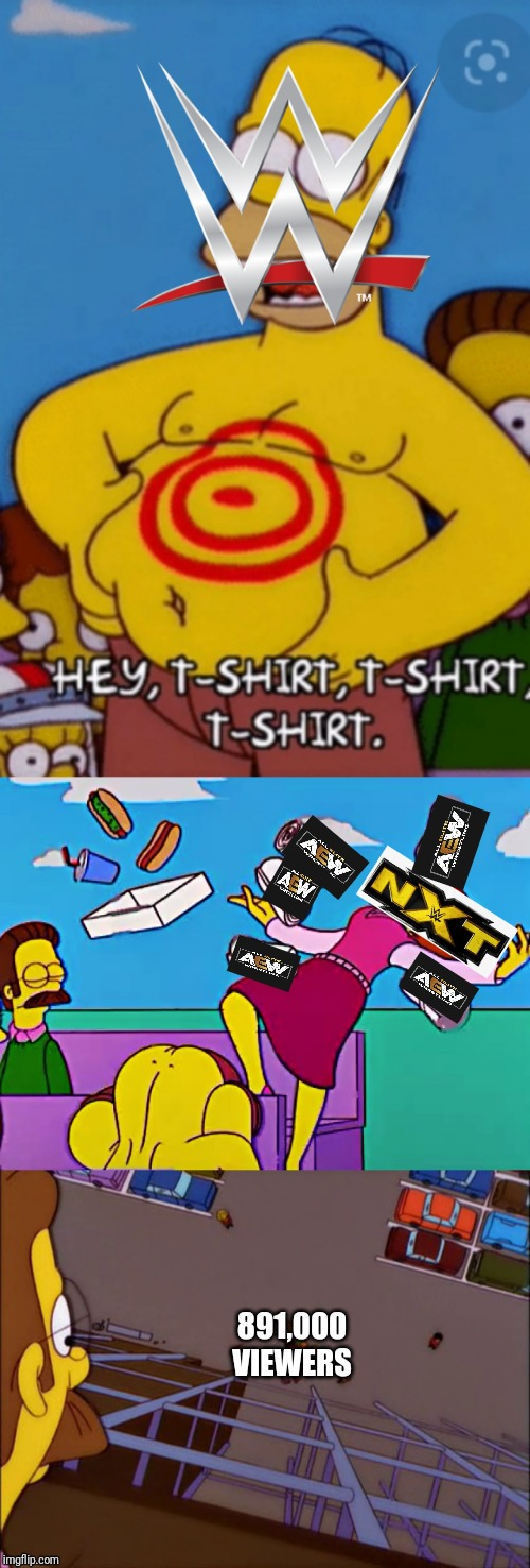 The t shirt company ! | 891,000 VIEWERS | image tagged in wwe,the simpsons,aew | made w/ Imgflip meme maker