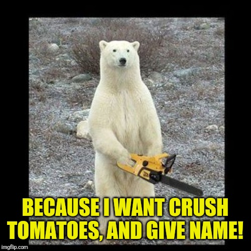 Chainsaw Bear Meme | BECAUSE I WANT CRUSH TOMATOES, AND GIVE NAME! | image tagged in memes,chainsaw bear | made w/ Imgflip meme maker