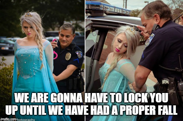 Too early... | WE ARE GONNA HAVE TO LOCK YOU UP UNTIL WE HAVE HAD A PROPER FALL | image tagged in elsa,frozen,winter | made w/ Imgflip meme maker