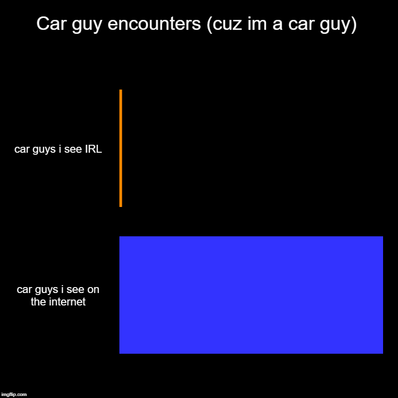 Car guy encounters (cuz im a car guy) | car guys i see IRL, car guys i see on the internet | image tagged in charts,bar charts | made w/ Imgflip chart maker
