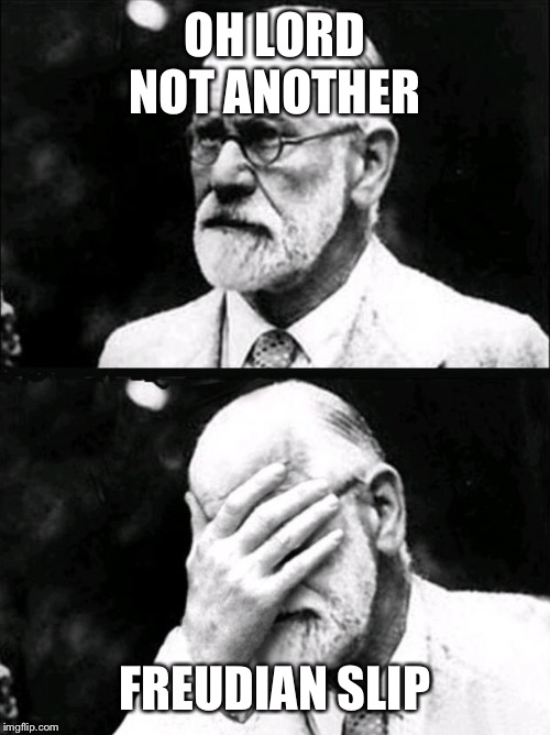 Freud | OH LORD NOT ANOTHER FREUDIAN SLIP | image tagged in freud | made w/ Imgflip meme maker
