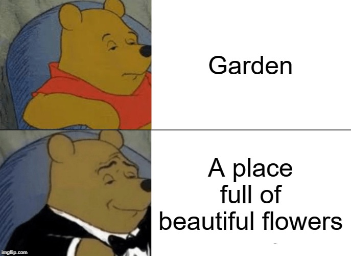 Tuxedo Winnie The Pooh Meme | Garden A place full of beautiful flowers | image tagged in memes,tuxedo winnie the pooh | made w/ Imgflip meme maker