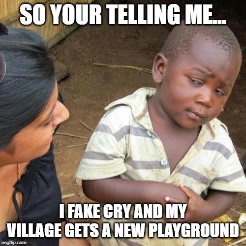 Third World Skeptical Kid Meme | SO YOUR TELLING ME... I FAKE CRY AND MY VILLAGE GETS A NEW PLAYGROUND | image tagged in memes,third world skeptical kid | made w/ Imgflip meme maker