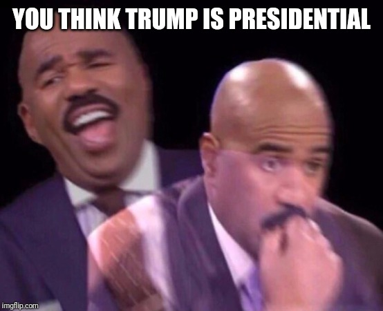 Steve Harvey Laughing Serious | YOU THINK TRUMP IS PRESIDENTIAL | image tagged in steve harvey laughing serious | made w/ Imgflip meme maker