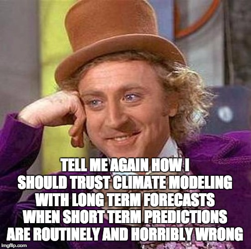 Creepy Condescending Wonka Meme | TELL ME AGAIN HOW I SHOULD TRUST CLIMATE MODELING WITH LONG TERM FORECASTS WHEN SHORT TERM PREDICTIONS ARE ROUTINELY AND HORRIBLY WRONG | image tagged in memes,creepy condescending wonka | made w/ Imgflip meme maker
