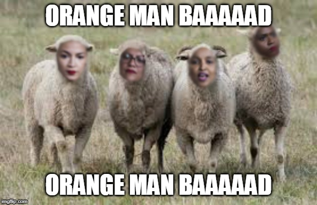 Orange man bad | ORANGE MAN BAAAAAD ORANGE MAN BAAAAAD | image tagged in donald trump,squad,alexandria ocasio-cortez,rashida tlaib,ayana presley,ilhan omar | made w/ Imgflip meme maker