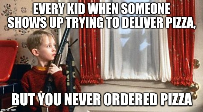 Home alone  | EVERY KID WHEN SOMEONE SHOWS UP TRYING TO DELIVER PIZZA, BUT YOU NEVER ORDERED PIZZA | image tagged in home alone | made w/ Imgflip meme maker