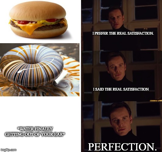 True do | I PREFER THE REAL SATISFACTION. I SAID THE REAL SATISFACTION PERFECTION. *WATER FINALLY GETTING OUT OF YOUR EAR* | image tagged in water,perfection | made w/ Imgflip meme maker
