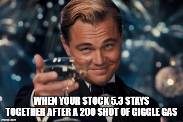 Leonardo Dicaprio Cheers Meme | WHEN YOUR STOCK 5.3 STAYS TOGETHER AFTER A 200 SHOT OF GIGGLE GAS | image tagged in memes,leonardo dicaprio cheers | made w/ Imgflip meme maker