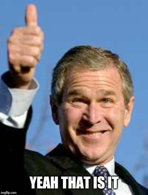 George Bush Happy | YEAH THAT IS IT | image tagged in george bush happy | made w/ Imgflip meme maker